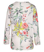 Floral with Bird Print Top with Roll Tab Sleeves , Multi, original image number 1