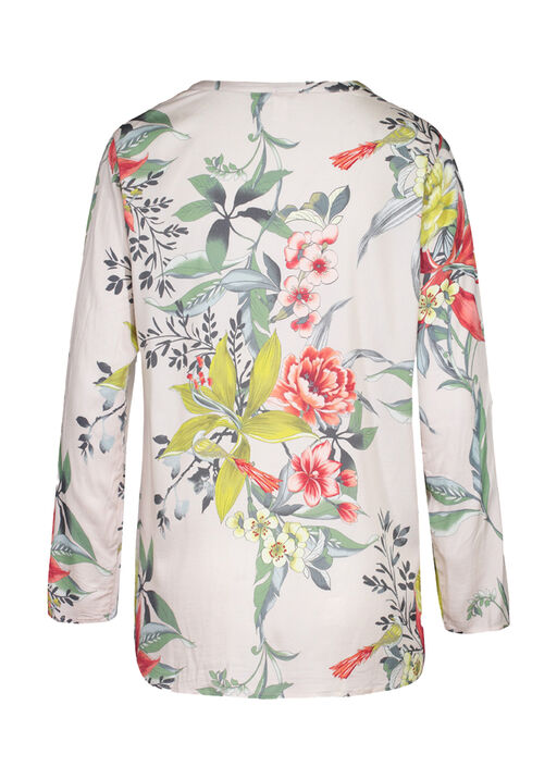 Floral with Bird Print Top with Roll Tab Sleeves , Multi, original