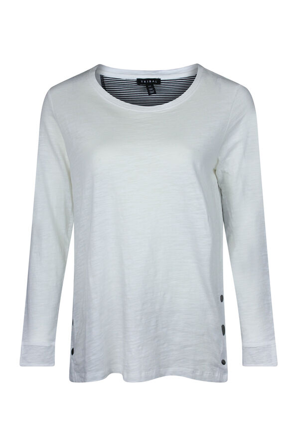 Cotton Crew Neck with Side Snaps, , original image number 2