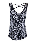 Criss Cross Back Sleeveless Floral Print Top, Black, original image number 1