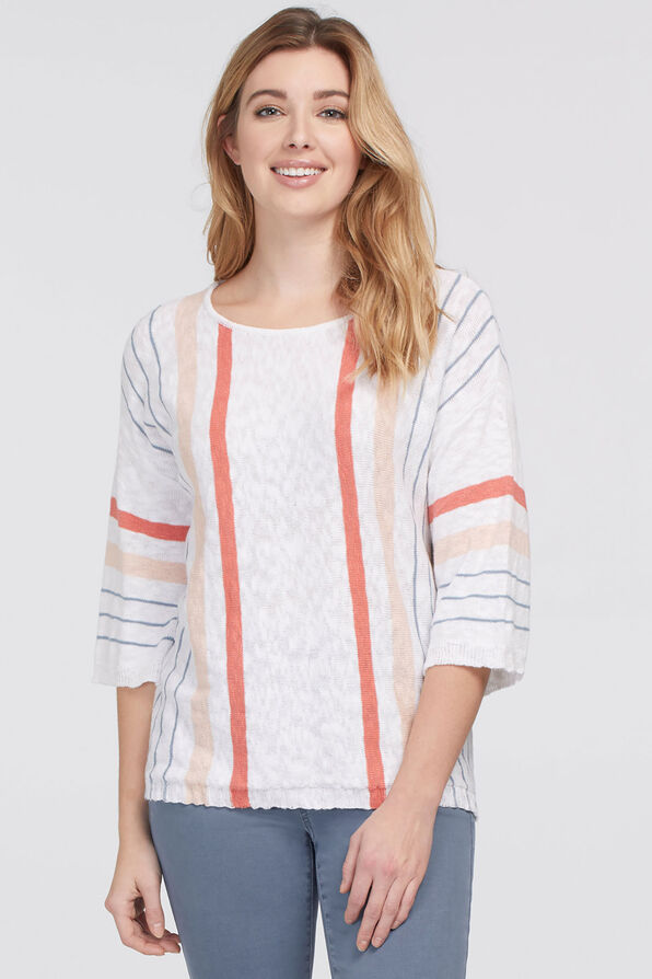 Summery Striped Knit Top, White, original image number 0
