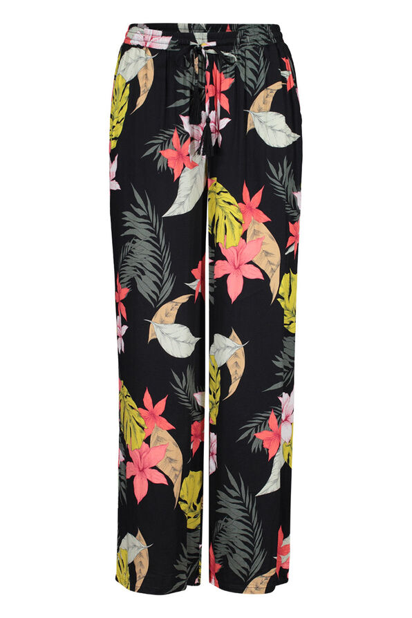 Wide Leg Ankle Palazzo Pant in Floral Print, Black, original image number 1