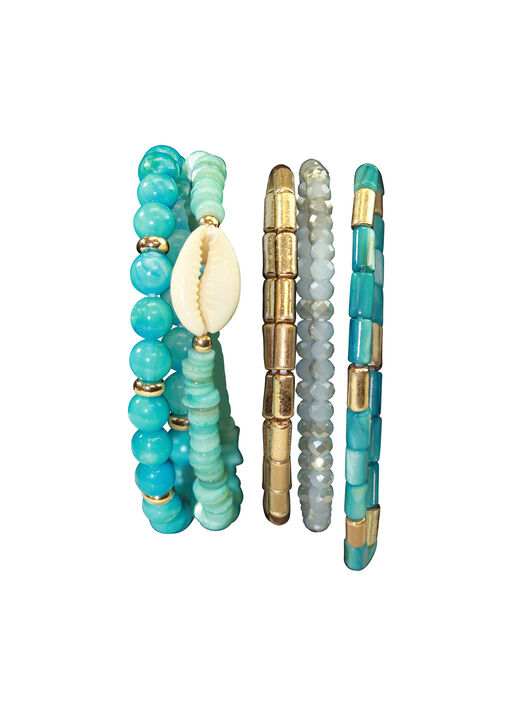 Five Pack Turquoise Shell Beaded Stretch Bracelets, Turquoise, original