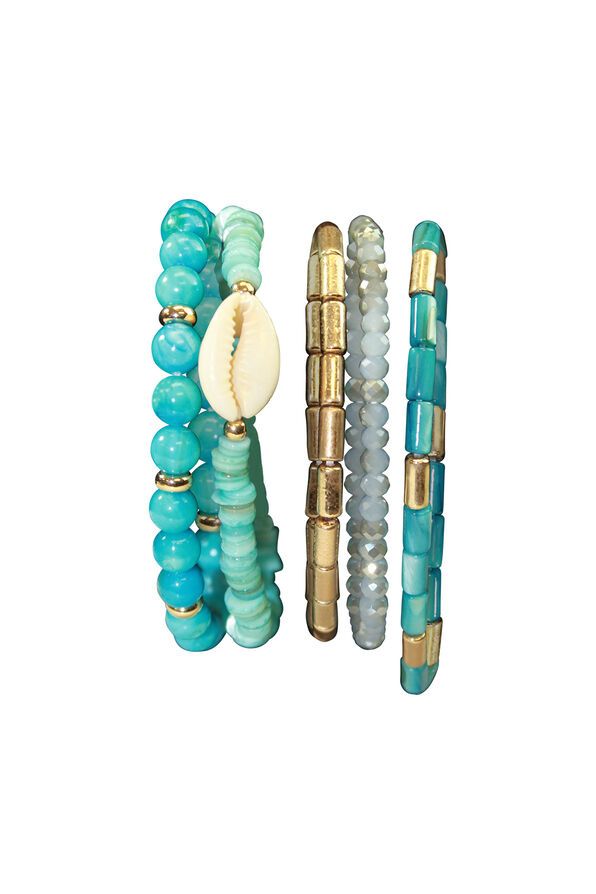 Five Pack Turquoise Shell Beaded Stretch Bracelets, Turquoise, original image number 0