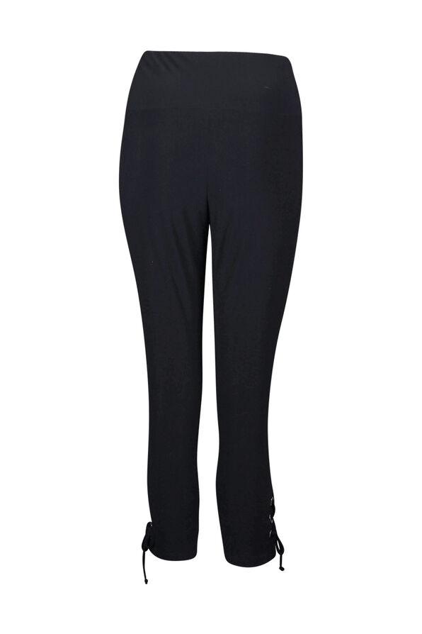 Capri Legging with Laced Hem, Black, original image number 1
