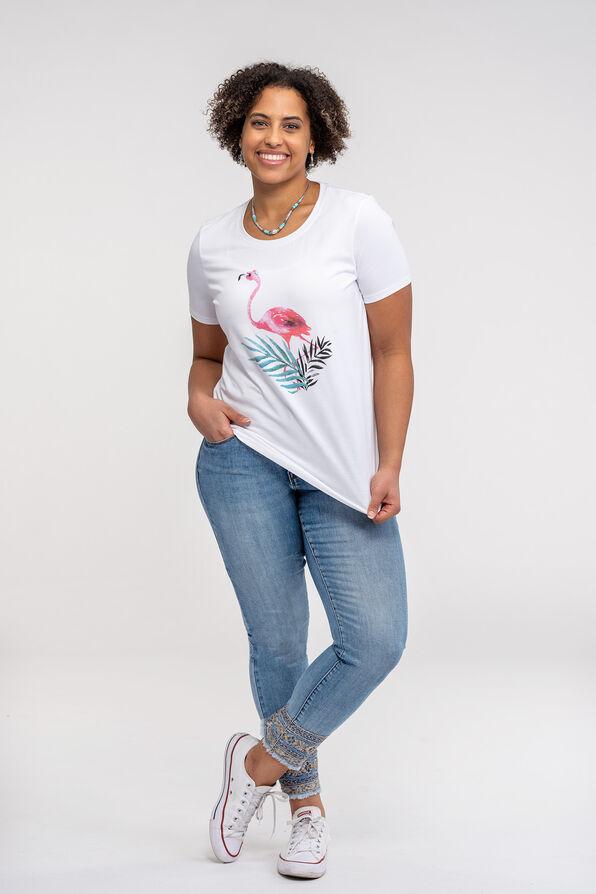 Flamingo Print T-Shirt, Pink, original image number 1