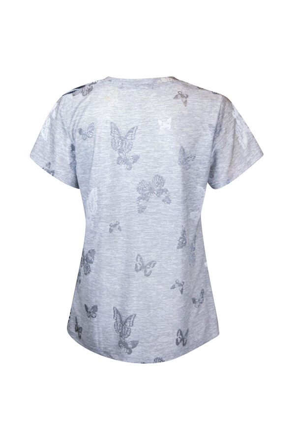 Bee Star Rhinestone T-Shirt, Grey, original image number 1