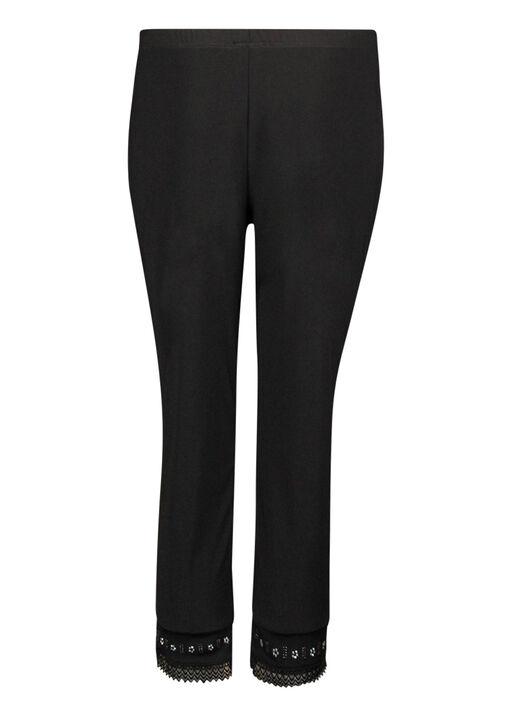 Capri Legging with Lace and Bling Hem, Black, original