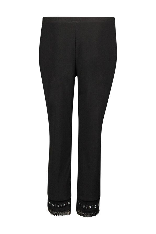 Capri Legging with Lace and Bling Hem, Black, original image number 1