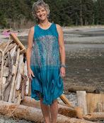 Sleeveless Dip Dye Swing Dress, Teal, original image number 0