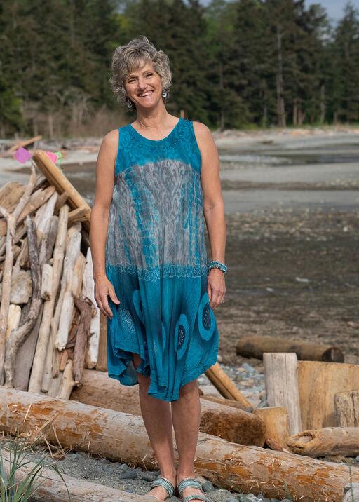 Sleeveless Dip Dye Swing Dress, Teal, original