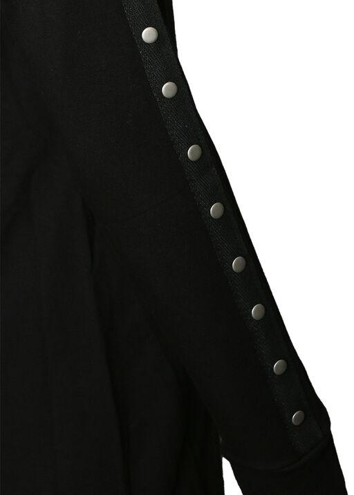 Studded-Sleeve Shirt Dress, Black, original