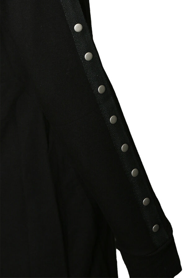Studded-Sleeve Shirt Dress, Black, original image number 1
