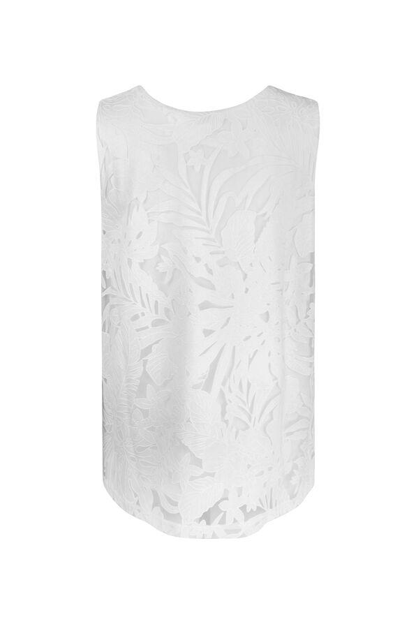 Tropical Burnout Sleeveless Top, White, original image number 1