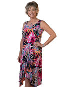 Sleeveless Swing Dress with Hankie Hem, Multi, original image number 0