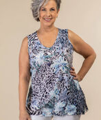 Printed Lace Top, Blue, original image number 0