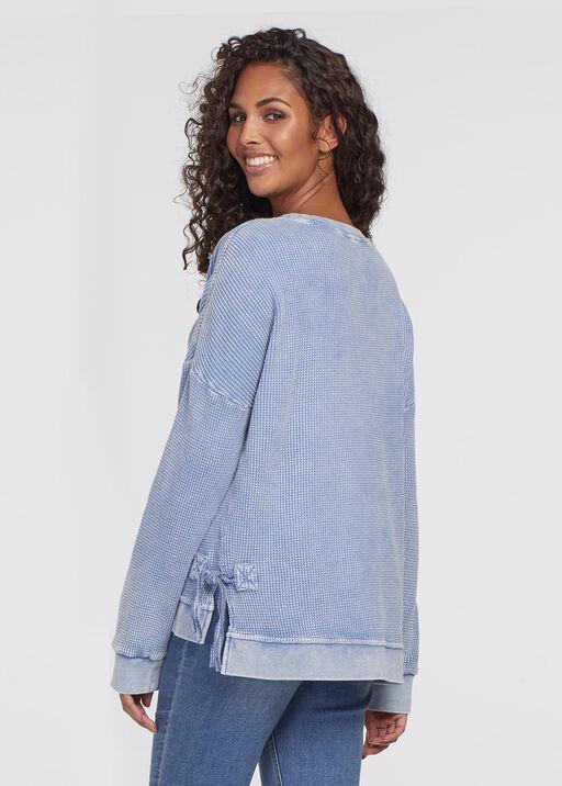 Wilhelmina Side-Lace Waffle Sweater, Blue, original