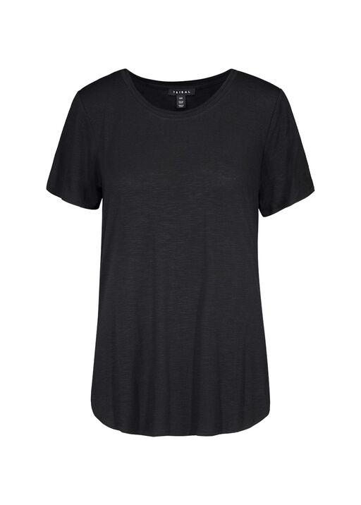 Crew Neck T-Shirt with Hi-Lo Hem, , original