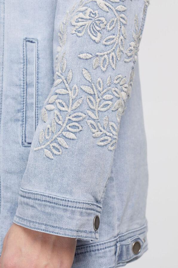 Ivory-Floral Embroidery Denim Jacket, Denim, original image number 3