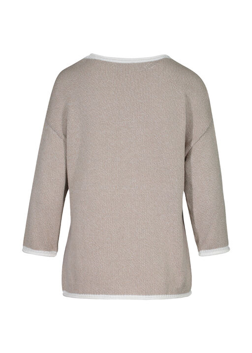 Palm Tree Knit Sweater with Roll Neck, Taupe, original