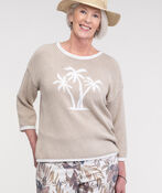 Palm Tree Knit Sweater with Roll Neck, Taupe, original image number 2