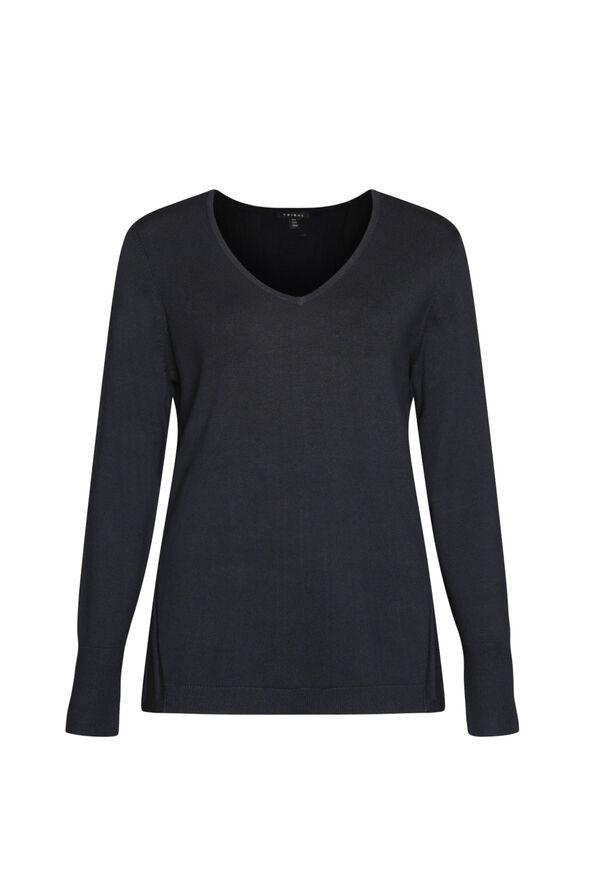 Raya Ribbed Back V-Neck Sweater, , original image number 4