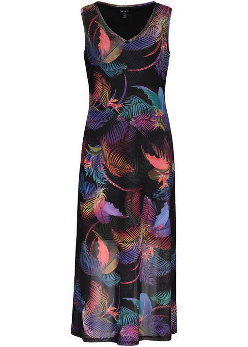 Tribal Sleeveless Mesh Maxi Dress, Pink, original