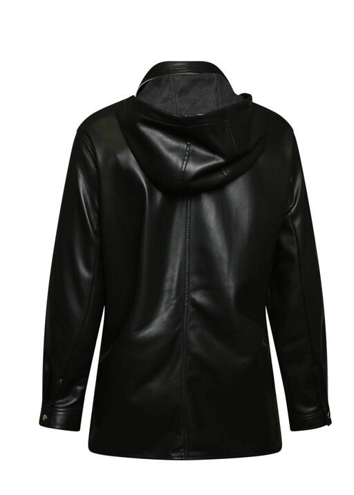 Autumn Pleather Jacket with Packable Hood, Black, original