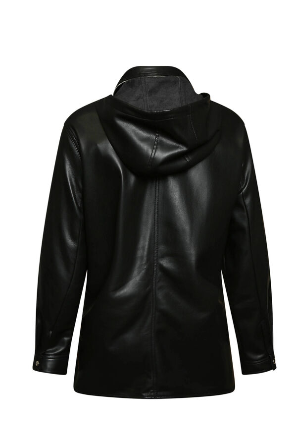 Autumn Pleather Jacket with Packable Hood, Black, original image number 1