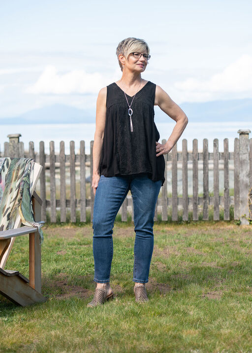 Sleeveless V-Neck Peasant Top with Embroidery, Black, original