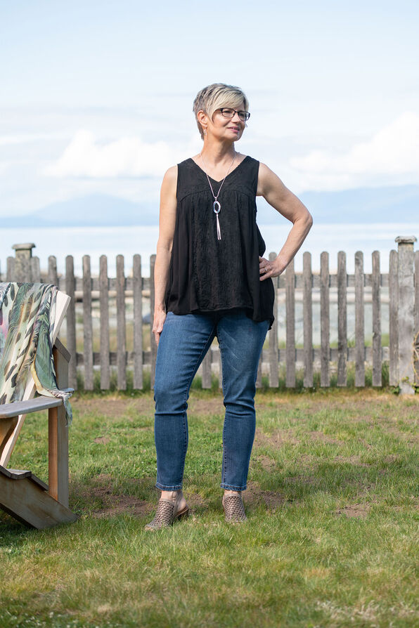 Sleeveless V-Neck Peasant Top with Embroidery, , original image number 0