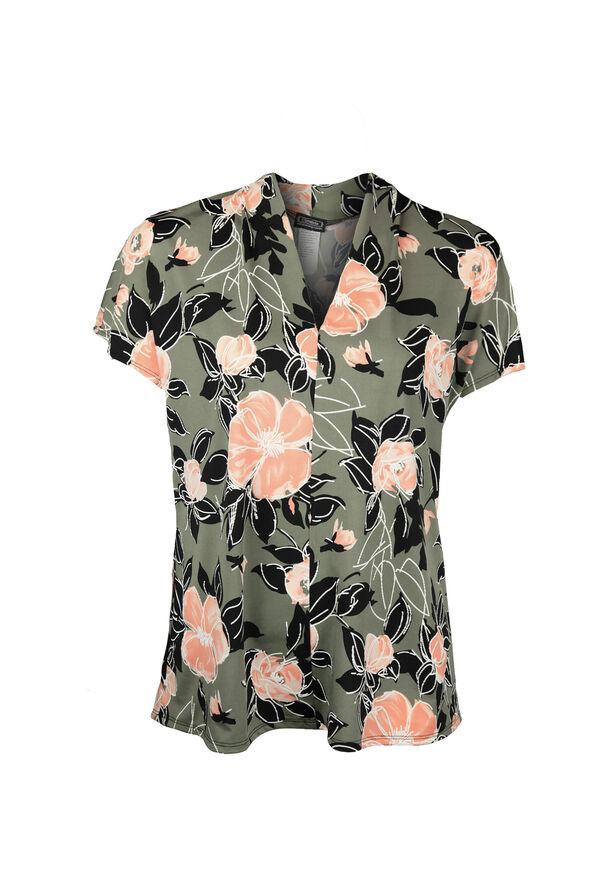 Cap Sleeve V-Neck Floral Print Top, Olive, original image number 0