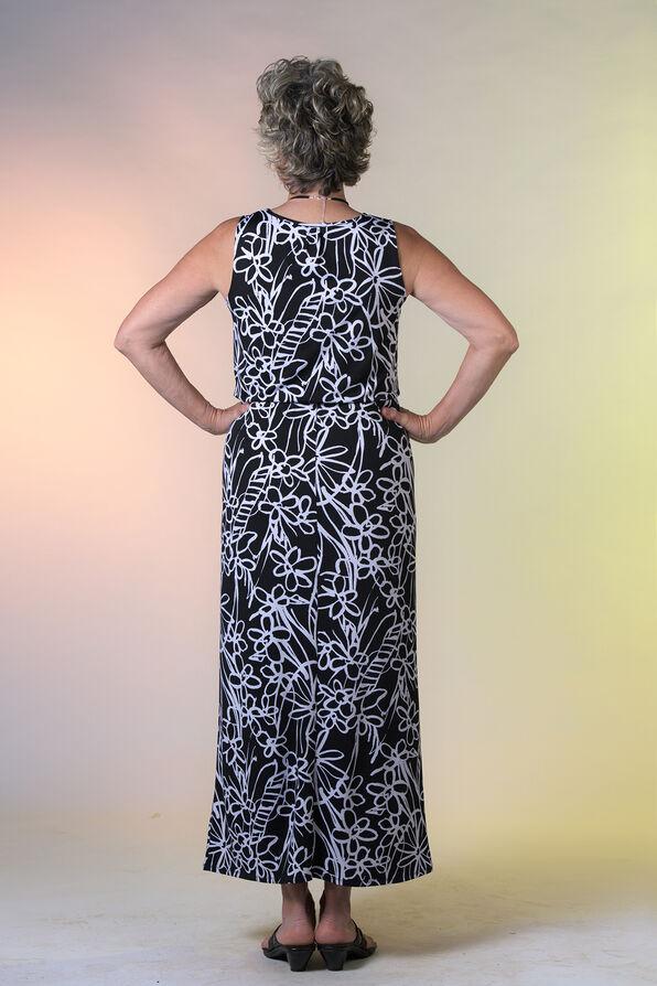 Sleeveless Maxi Dress with Gathered Waist, Black, original image number 1