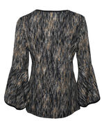 Textured Print with Bell Sleeve, Taupe, original image number 1