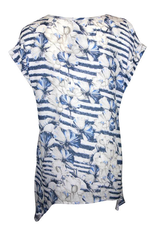 Stripe and Floral Print Cap Sleeve Shirt , Blue, original image number 1
