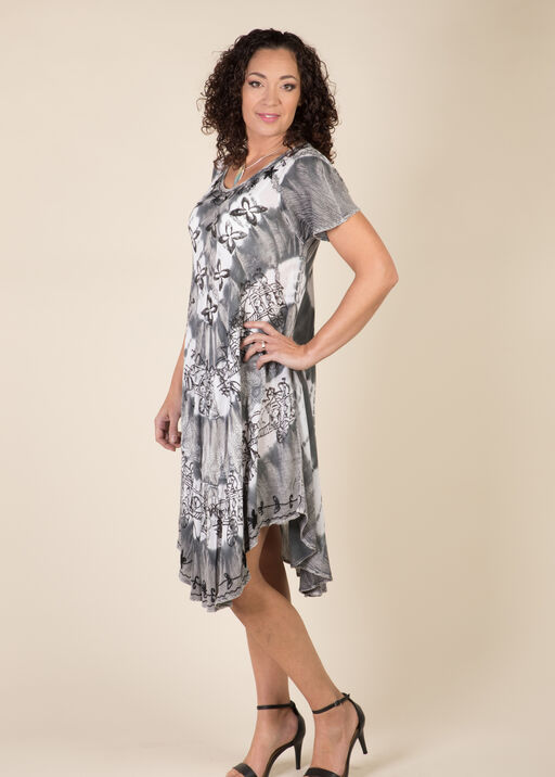 Short Sleeve Tie Dye Swing Dress, Grey, original