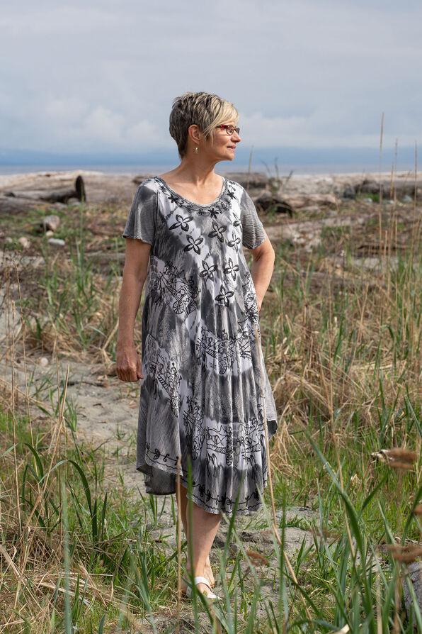 Short Sleeve Tie Dye Swing Dress, Grey, original image number 0