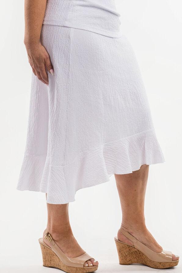 Ruffle Hi-Lo Skirt, White, original image number 1