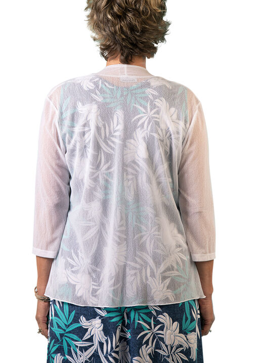 3/4 Sleeve Mesh Drape Front  Cardigan, White, original