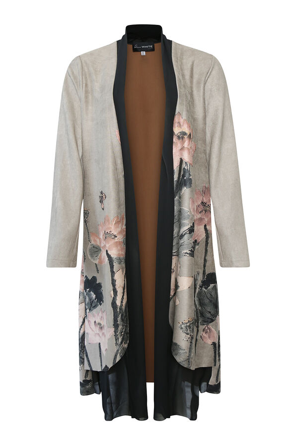 Shiloh Faux Suede Coat with Scarf, Grey, original image number 0