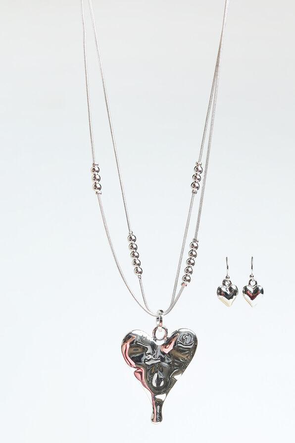 Teardrop Heart Pendant Necklace Set , Silver, original image number 0