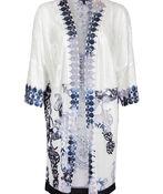 Burnout Kimono with Border Print 3/4 Sleeves, White, original image number 0