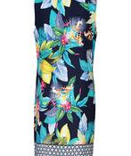 Tribal Tropical Print Split Neck Sleeveless Dress, Indigo, original image number 1