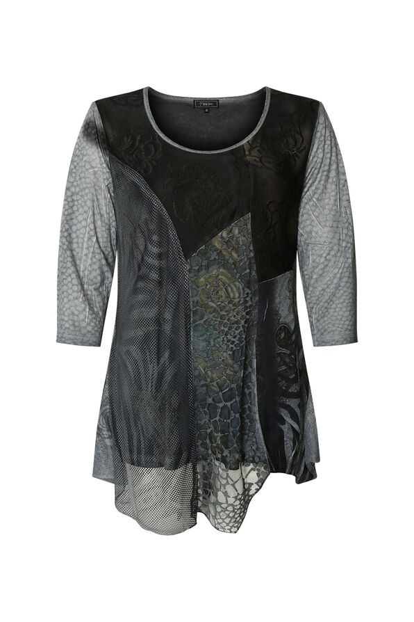 Mesh Accented Tunic, Grey, original image number 0