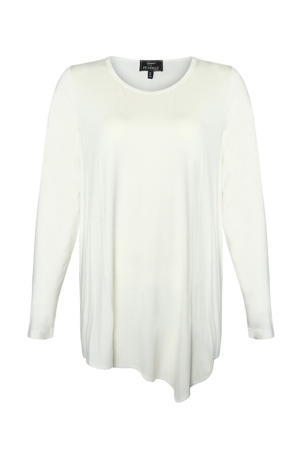 Asymmetrical Hem Long Sleeve Top, , original image number 2