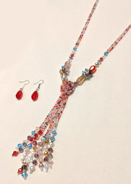 Beaded Necklace and Earrings Set, , original