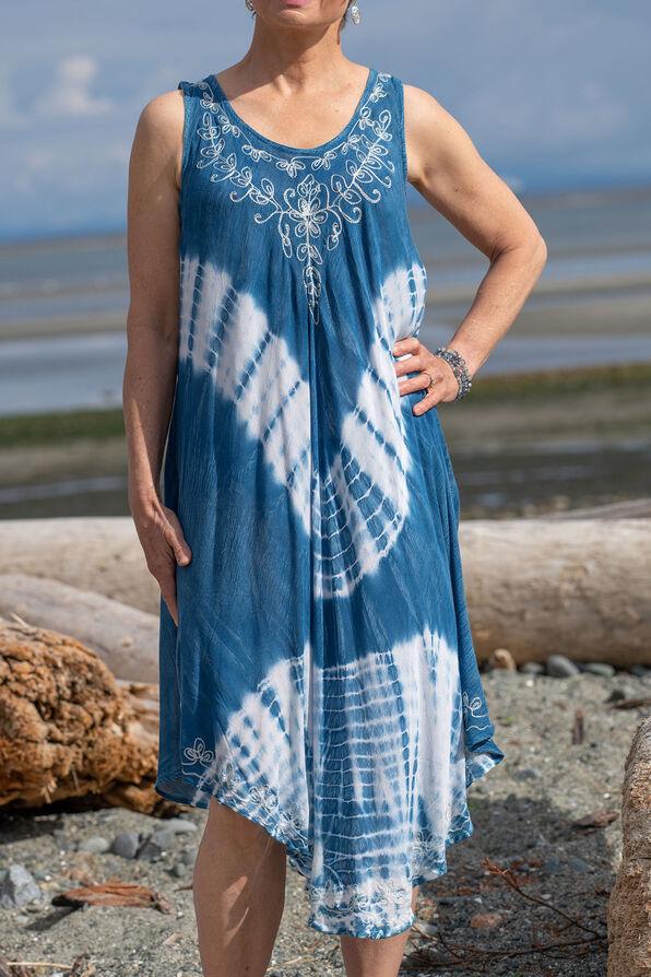 Sleeveless Embroidered Neckline Tie Dye Dress, Denim, original image number 2