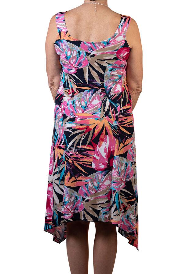 Sleeveless Swing Dress with Hankie Hem, Multi, original image number 1