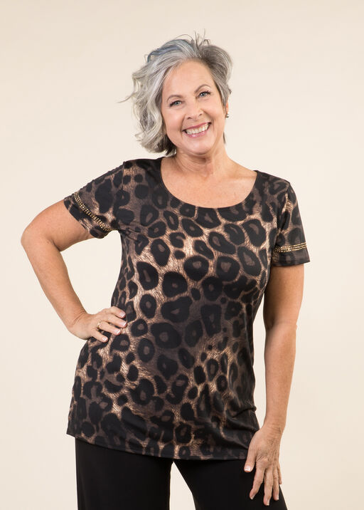Short Sleeve Animal Print Top, Brown, original