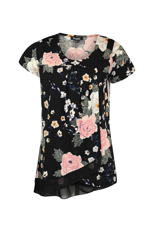 Floral Print Pintuck with Overlay Short Sleeve Top, Black, original image number 0